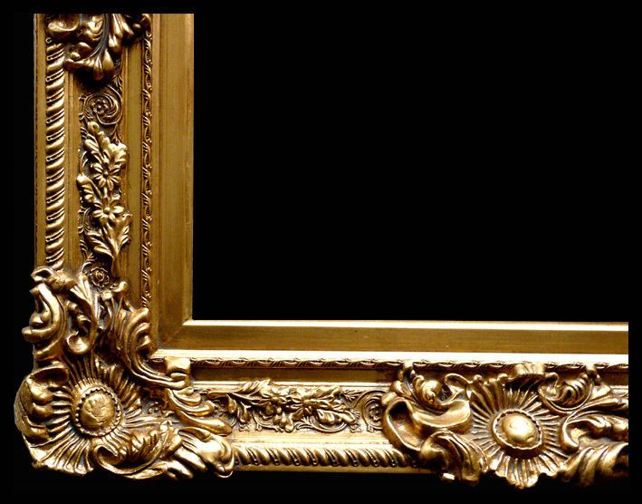 wood picture frame ornate antique gold 24 x 36 moulding wide 5