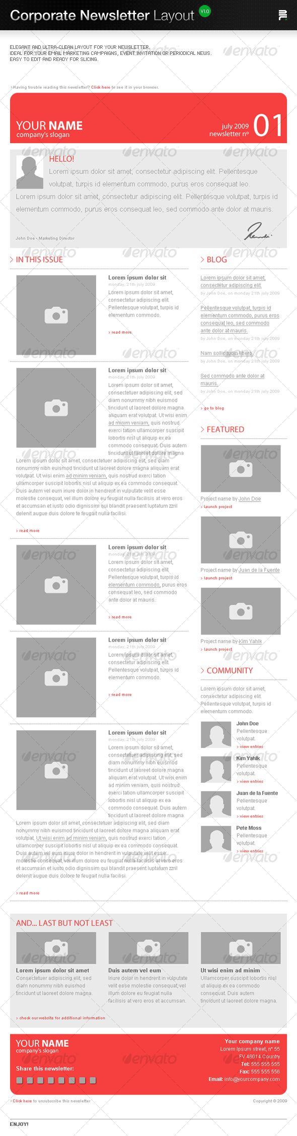 Corporate Newsletter Layout   Newsletter Print   Pinterest