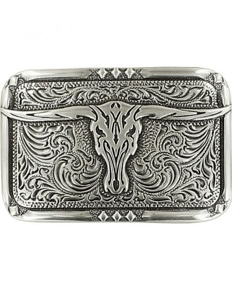 Rectangle Floral Flower Ancient Silver Western Belt Buckle