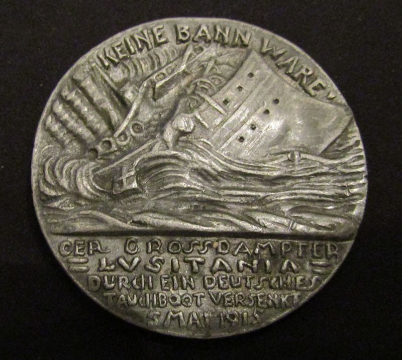 "1915 German satirical medallion by Karl Goetz commemorating the 1915 sinking of the Lusitania 2.25"" diameter."