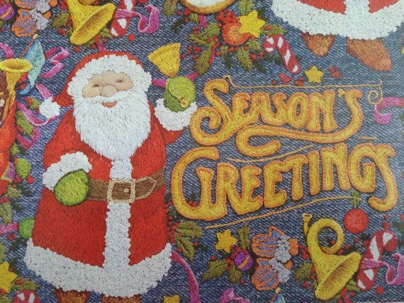 Vintage Christmas Gift Wrapping Paper - Denim Greetings by Hallmark