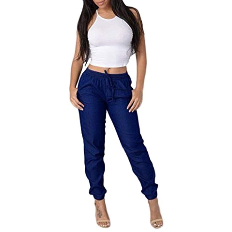 af24e49500054 Clearance!! Women Elastic High Waist Jeans GoodLock Fashion Casual Blue  Denim Pants --