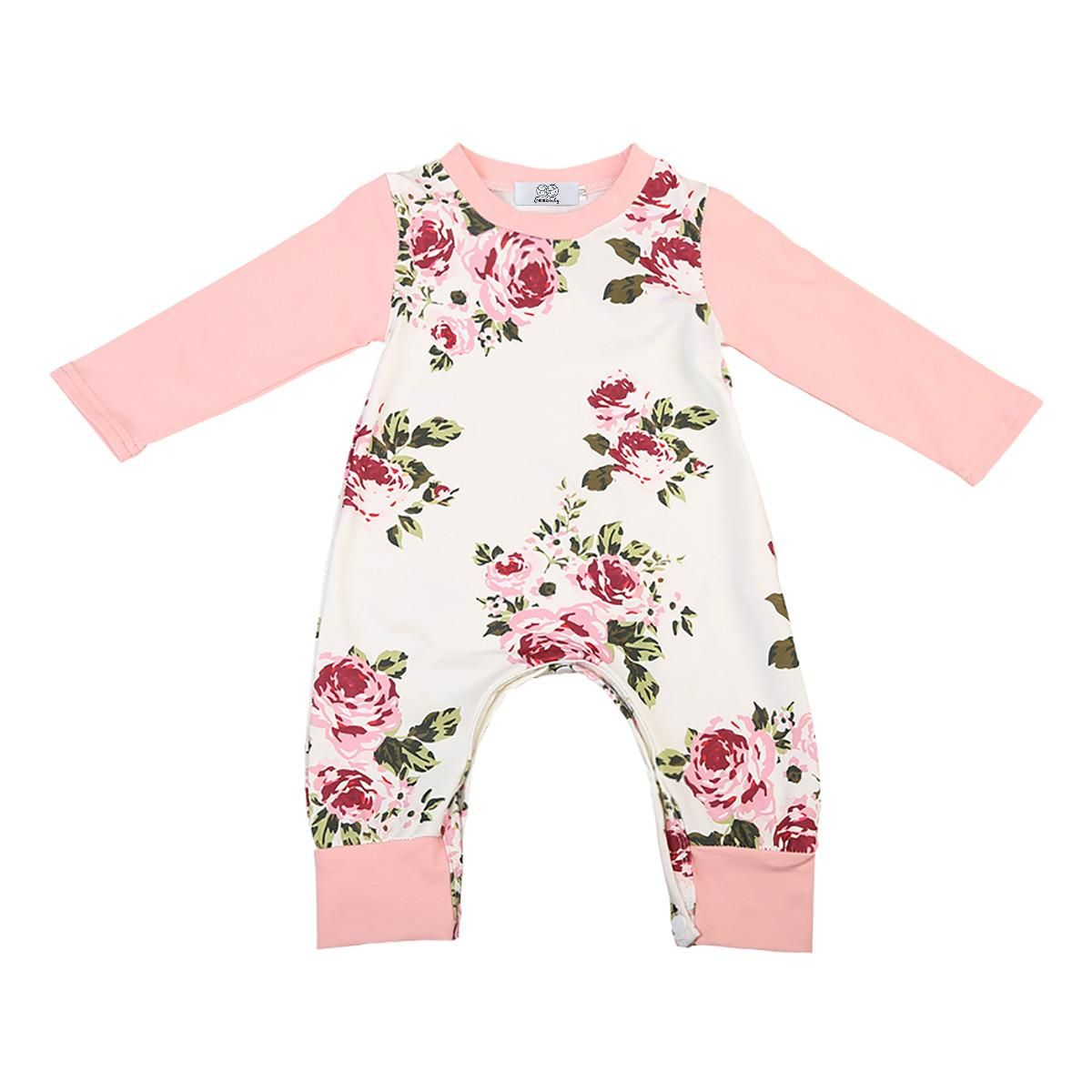 10c60c34a9e6 Baby Girl Romper 2017 Autumn Long Sleeve Cute Girl Newborn Kids Baby Girls  Floral Romper Jumpsuit Clothes Outfits AU. Yesterday s price  US  5.16  (4.51 EUR) ...