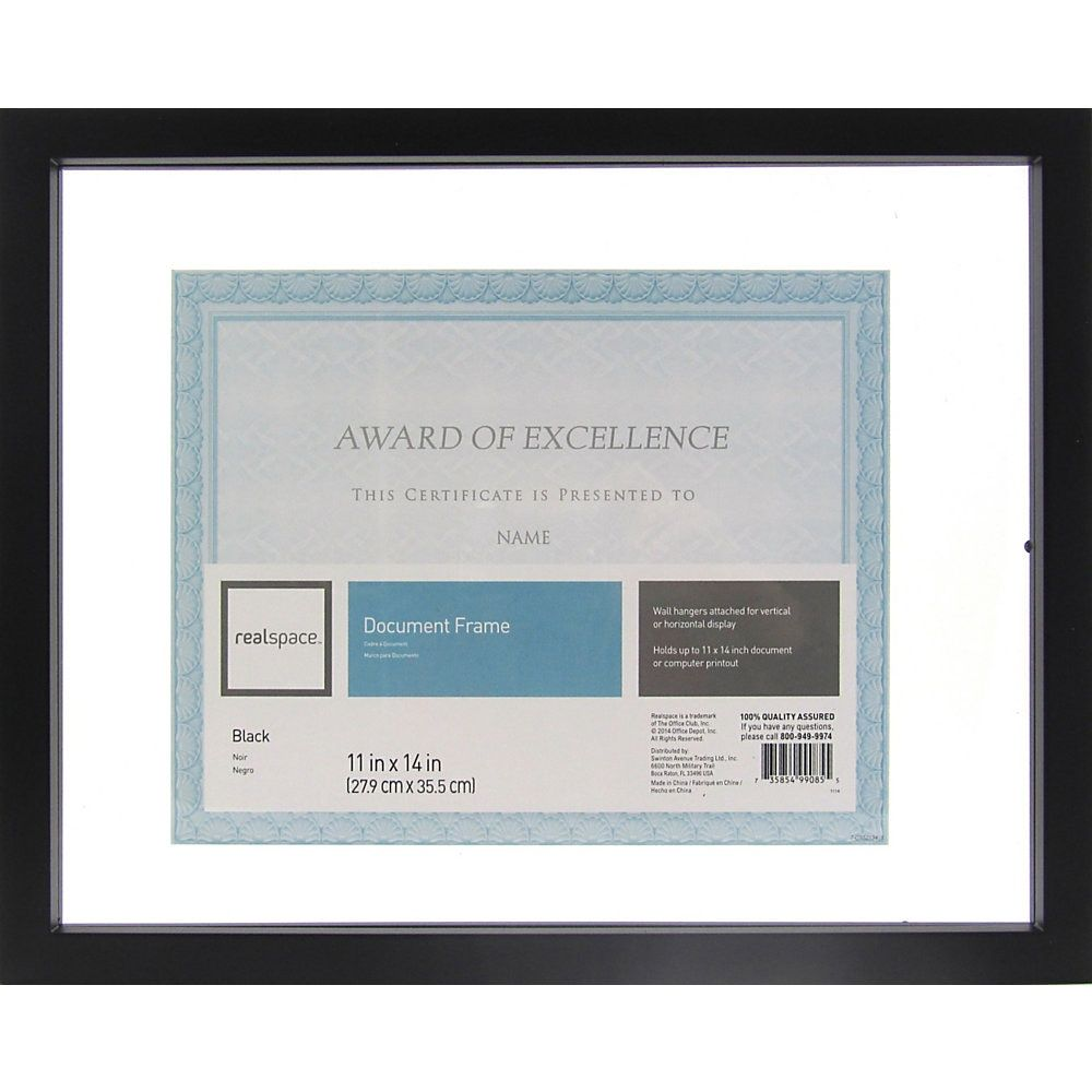 Realspace Gallery Floating Document Frame 11 X 14 Black Document Frame Frame Brand Names