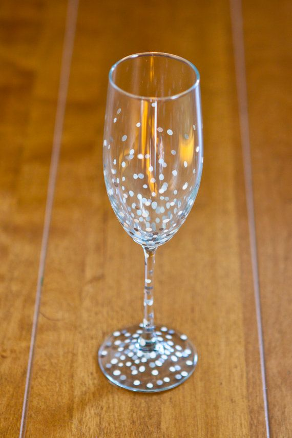 Polka-Dotted Champagne Flutes set of 2 by JTurcotteDesigns on Etsy