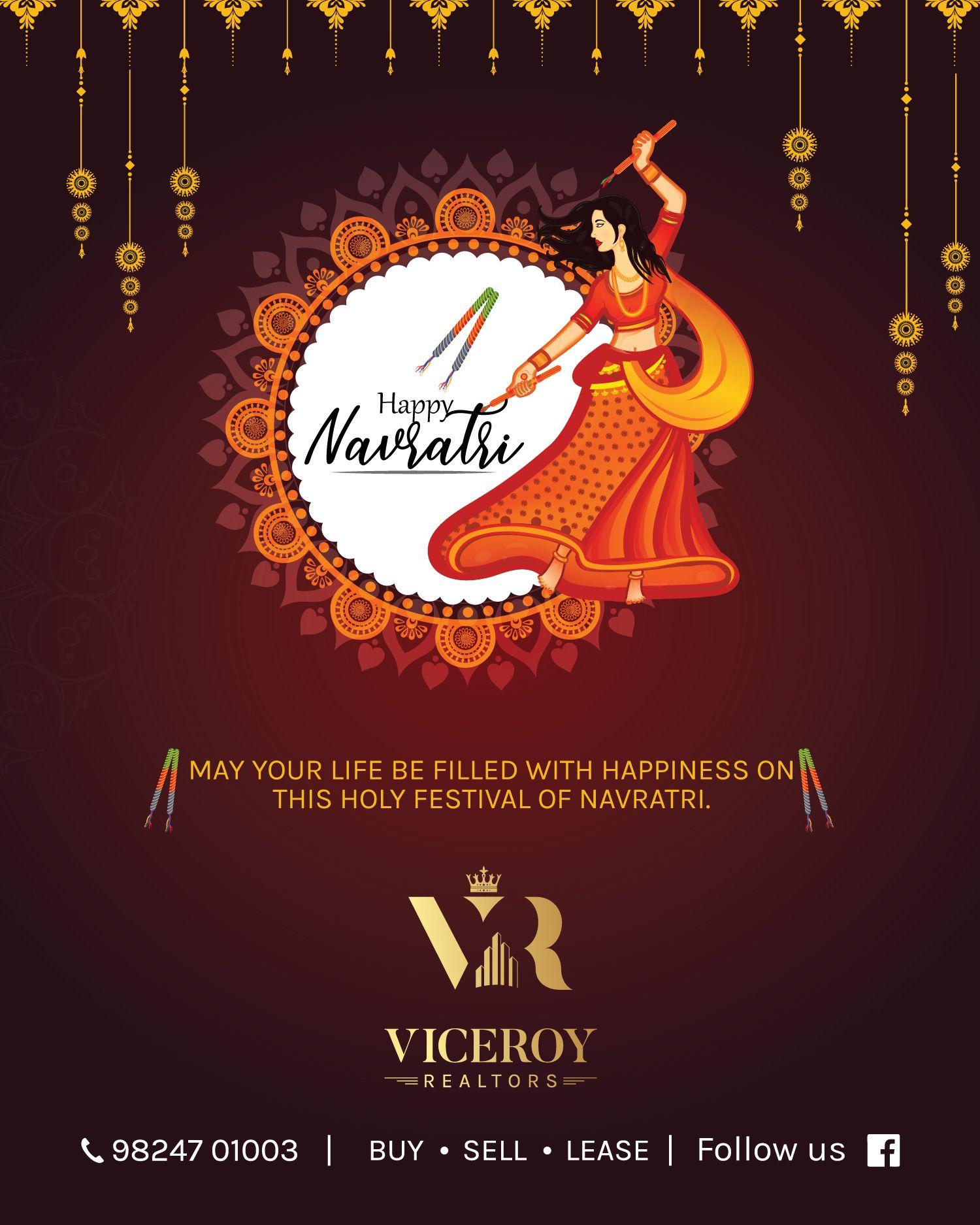 नवरात्रि की हार्दिक शुभकामनाएं Greeting card designed for Real Estate Agent #navratriwishes