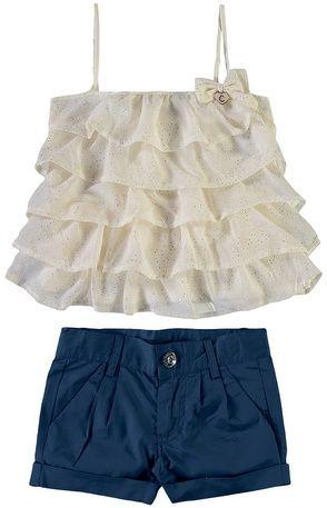 342bdd3c38b74c Conjunto blusa babado e short   Bebe   Moda infantil feminina, Moda ...