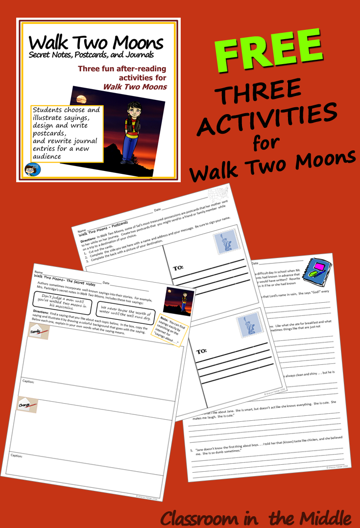 Worksheets Walk Two Moons Worksheets walk two moons secret notes postcards and journals classroom the three free activity sheets in this resource for are each after reading activities that follow up on some of t