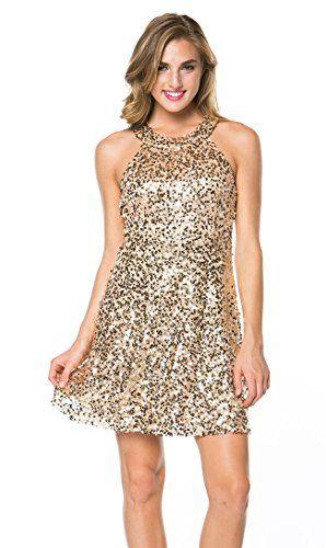 0303143deda7 Sequined Halter Skater Dress in Gold Soho Girl http   www.amazon.