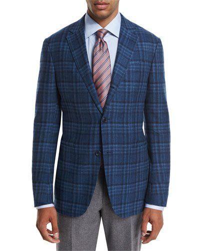 Plaid Wool-Cashmere Sport Coat, Teal/Blue | Sport coat, Teal blue ...