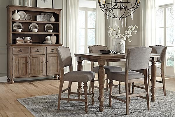 The Tanshire Counter Height Dining Room Table From Ashley Best Height Dining Room Table Inspiration Design