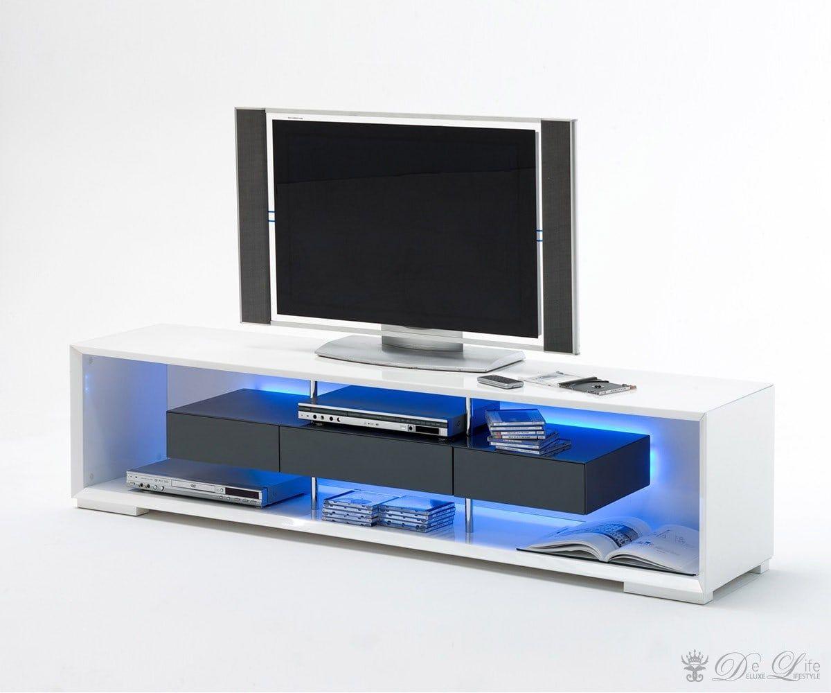 Delife Lowboard Rhea 150x45cm Weiss Hochglanz Grau Tv Di 2020