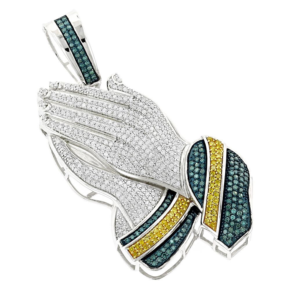 10k Gold Color Diamond Praying Hands Pendant 2 75ct In 2020 Colored Diamonds Mens Jewelry Pendants Jewelry Cross Pendant