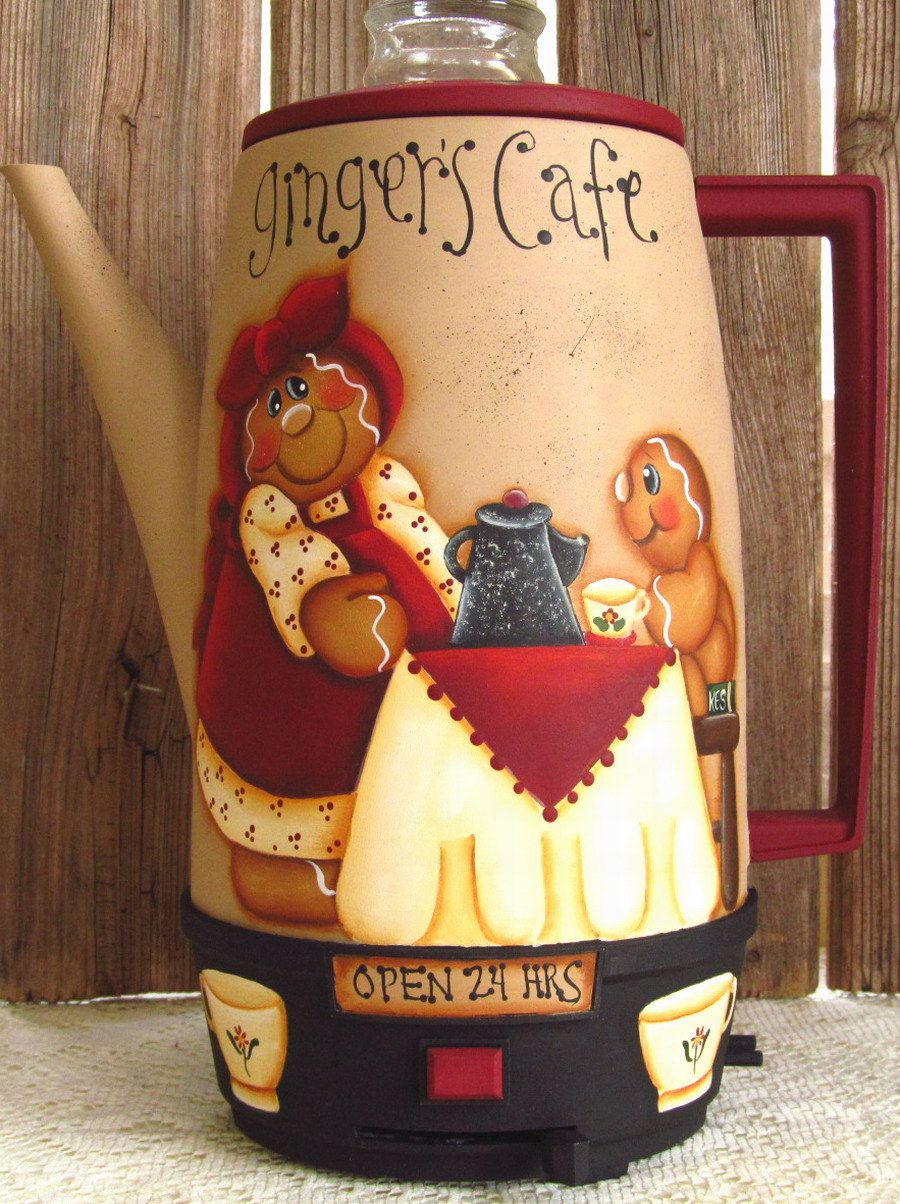 Gingerbread Hand Painted Vintage Coffee Pot
