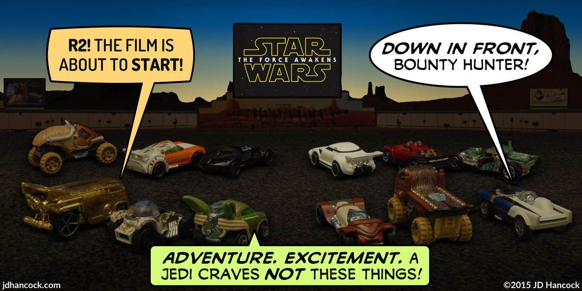 Popfig Photo Comic With Star Wars Cars At A Drive In Theater And