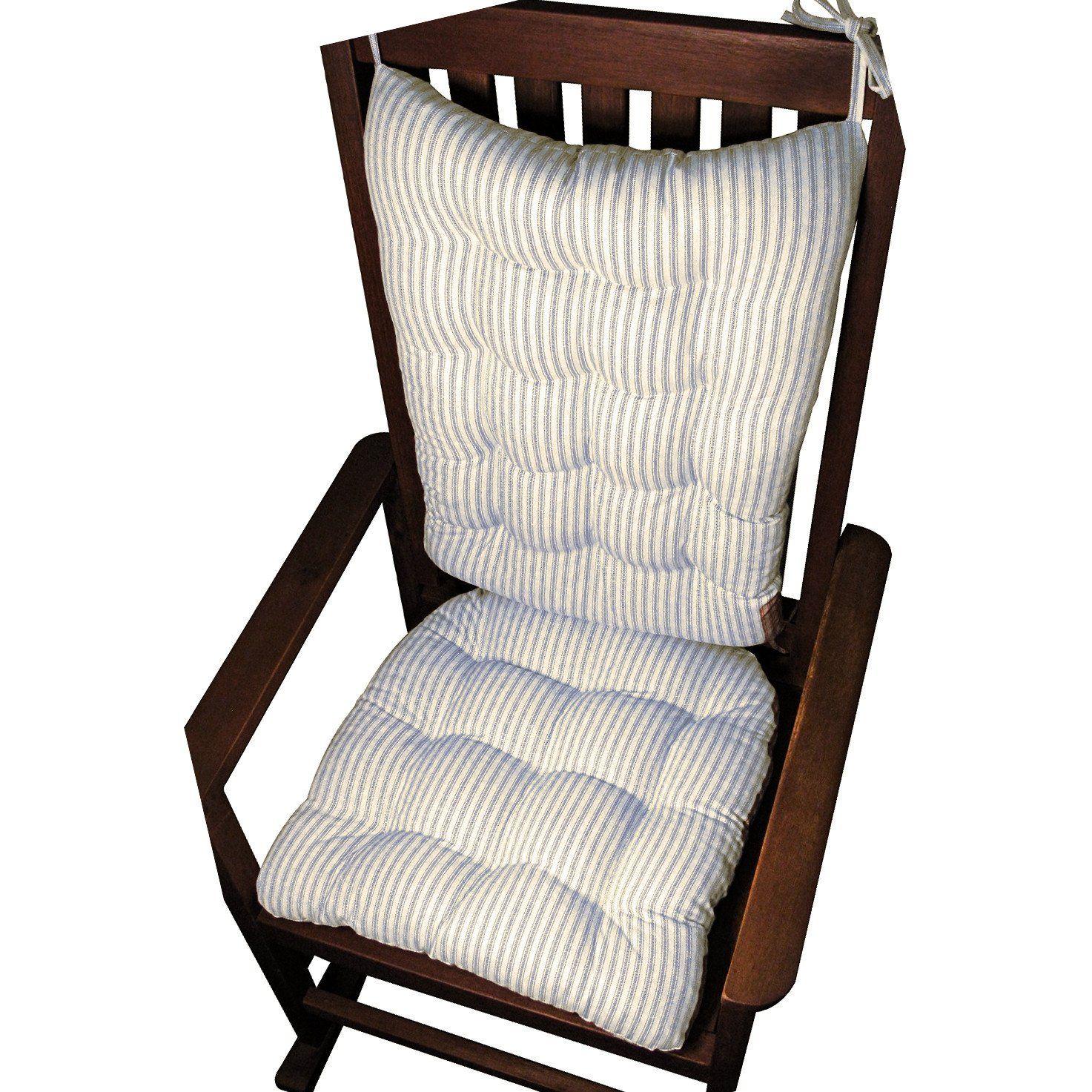 Ticking Stripe Navy Blue Rocking Chair Cushion Set Latex Foam Fill