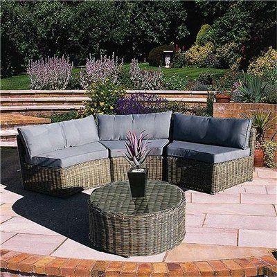 Bridgman Mayfair Curved Modular 4 Piece Rattan Sofa Set   Garden Furniture  Sets   RedShed