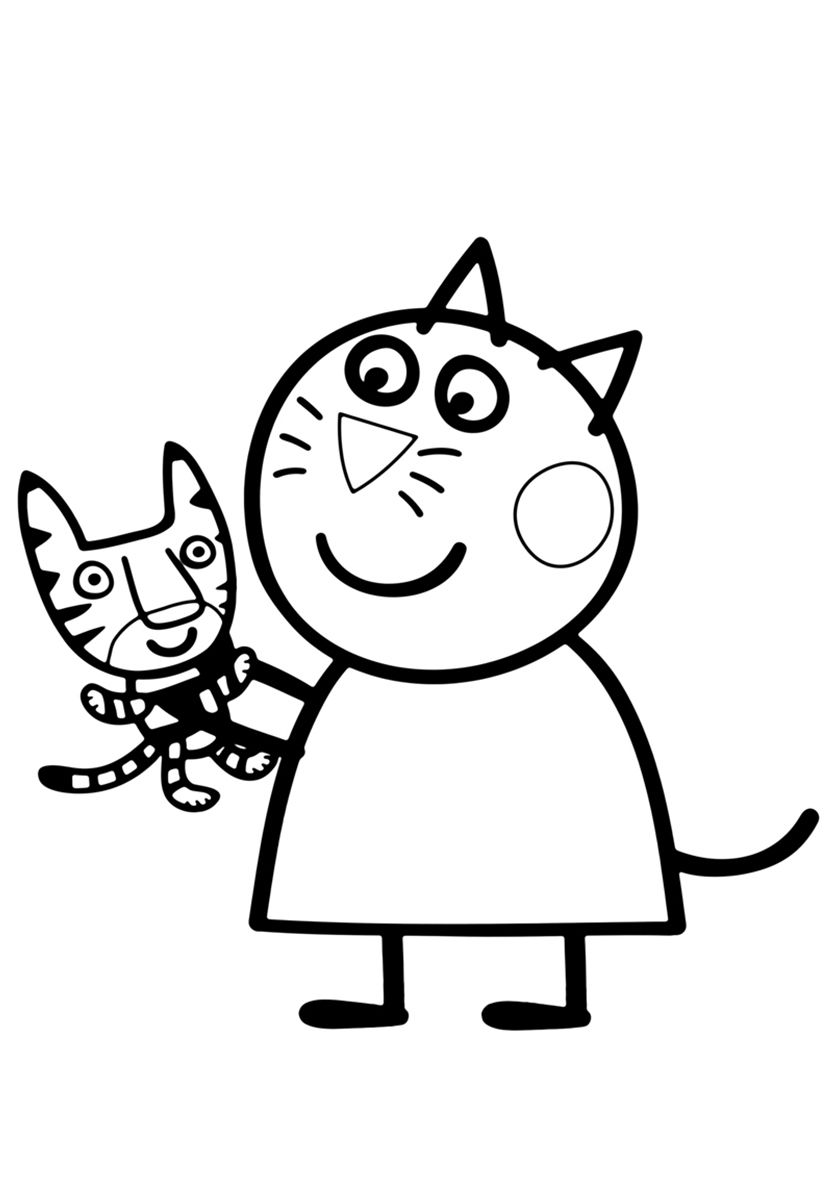 Candy Cat with a Toy - high-quality free coloring from the ...