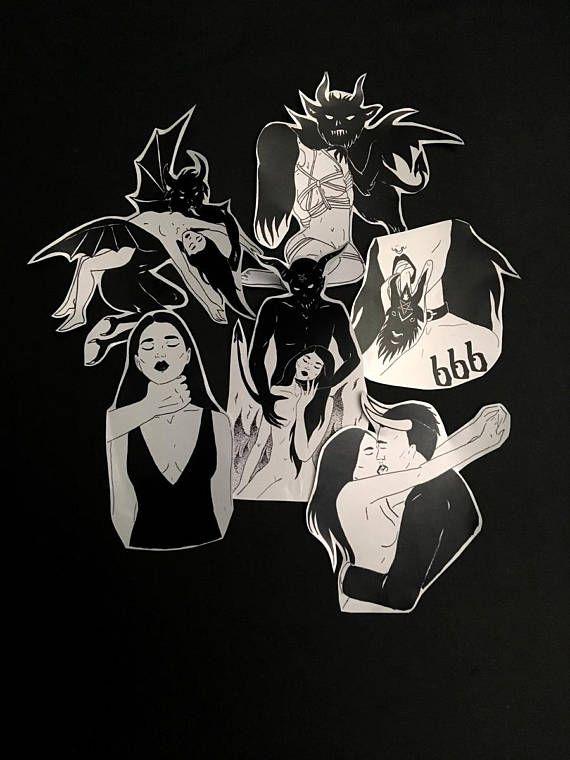 Girls and demons stickers 69thingstodo etsy com possesed devil satan