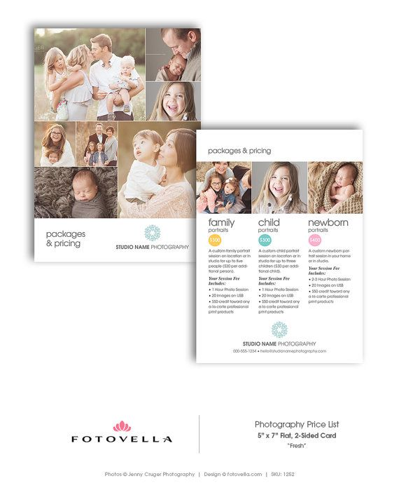 Price List Templates Photography Price List Template 5X7 Flat Card Freshfotovella .