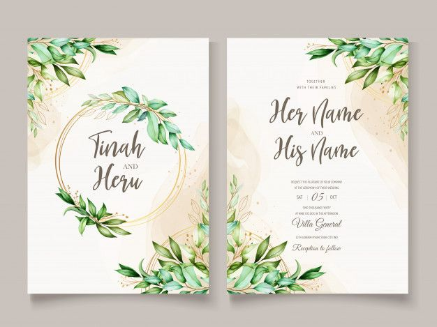 Download Beautiful Watercolor Leaves Wedding Card Template For Free In 2020 Wedding Cards Floral Wedding Invitation Card Flower Wedding Invitation