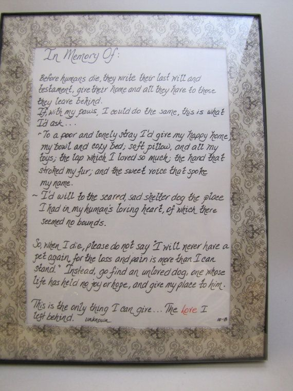 Paper Sign Wall Hanging Of In Memory Of Last Will And