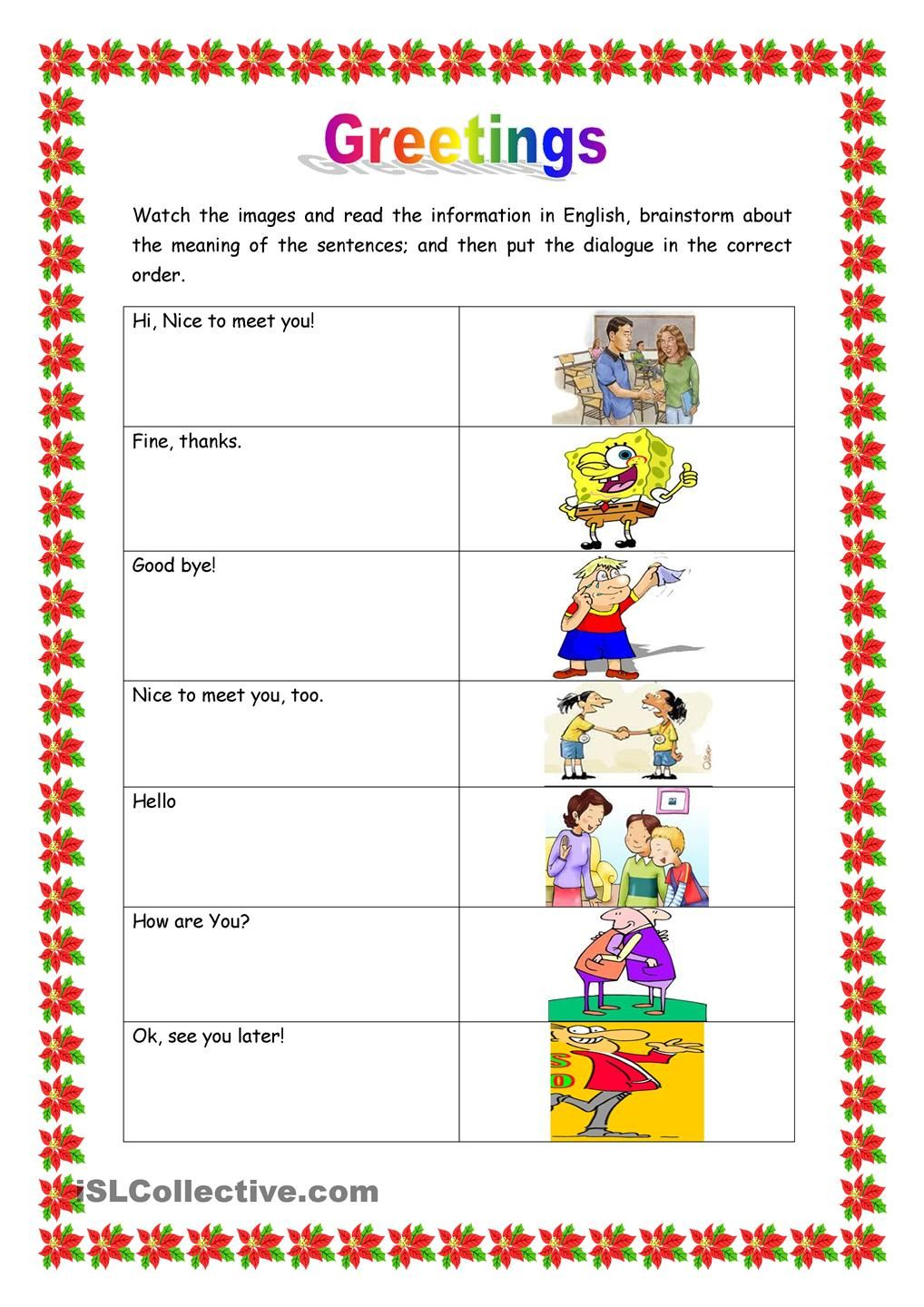 Greetings Esl Pinterest Worksheets Esl And English