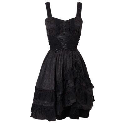 aa1aae7bd6b70b Gothic jurk met kant en brokaat zwart