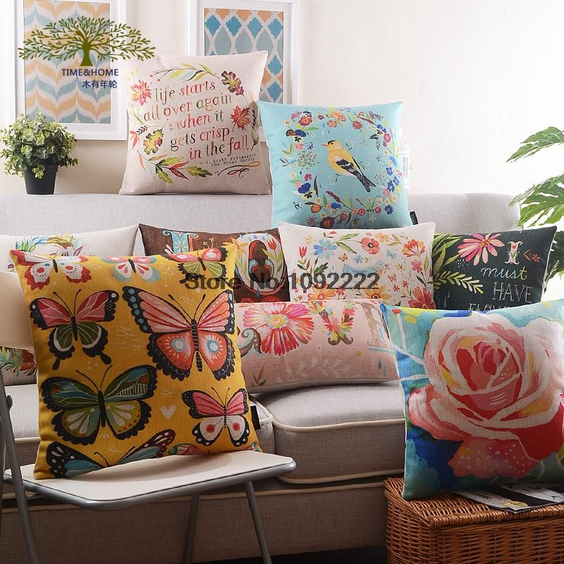 Rose Flower Throw pillow Cover,Animal Bird Floral decorative pillow