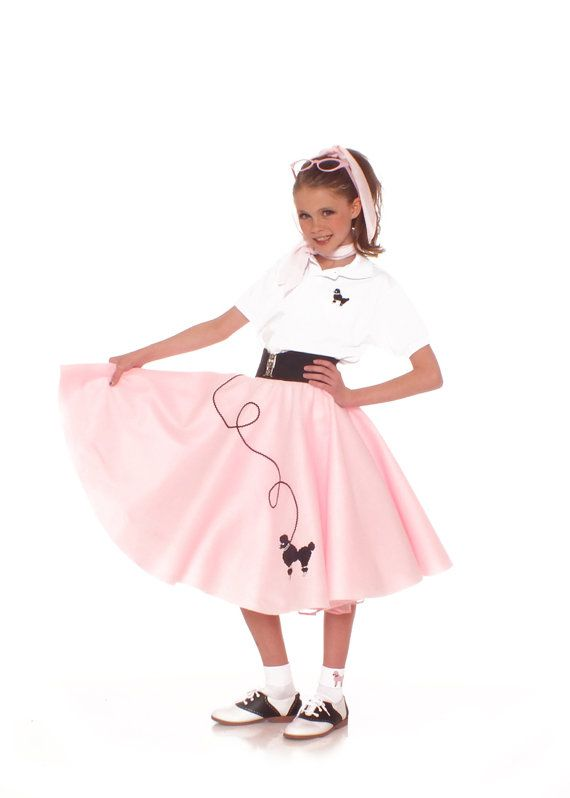 4 pc 50 s Poodle Skirt Outfit LIGHT PINK Youth Sz by hiphop50sshop ... 4a751390e680