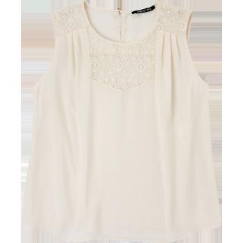 La Mode. Modelo: G815A0432569GCA. Blusa sin mangas, con encaje, escote redondo.