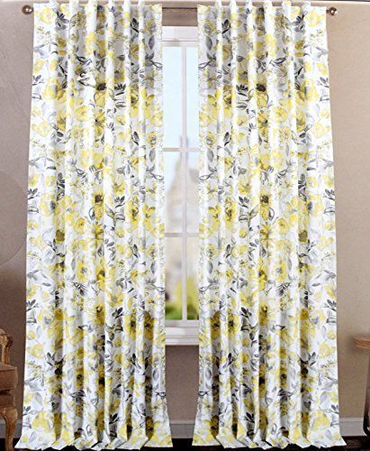 Envogue Clarissa Window Curtains Hummingbird Large Flowers 50 By
