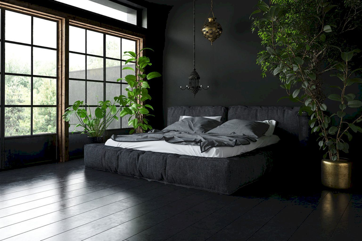 65 Gorgeous Dark Bedroom Decorating Ideas In 2020 With Images Bedroom Decor Dark Black Walls Bedroom Dark Interiors