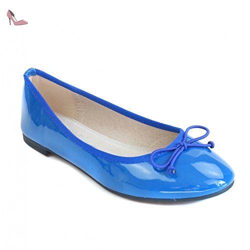 d0dc2a56b6ae1 Ballerines vernis bleu bouts rond semelle intérieur cuir et noeud -  Pointure 36 - Chaussures primtex