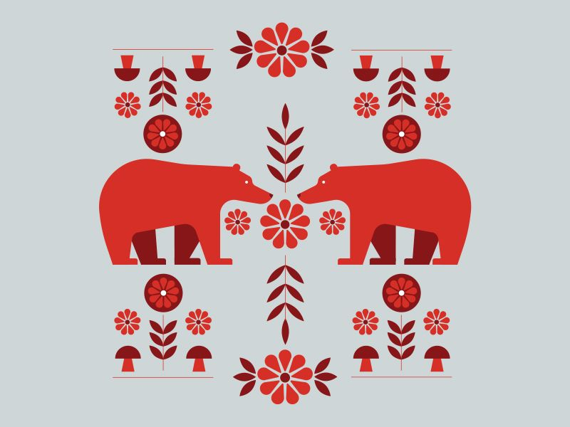 Folk Art Bear Folk Art Art Animal Illustration
