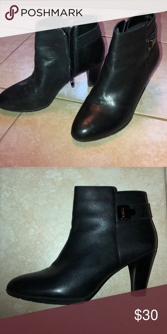 """size 40 huge selection of official shop Anne Klein Bootie 3"""" heel Black leather with silver accent Anne ..."""