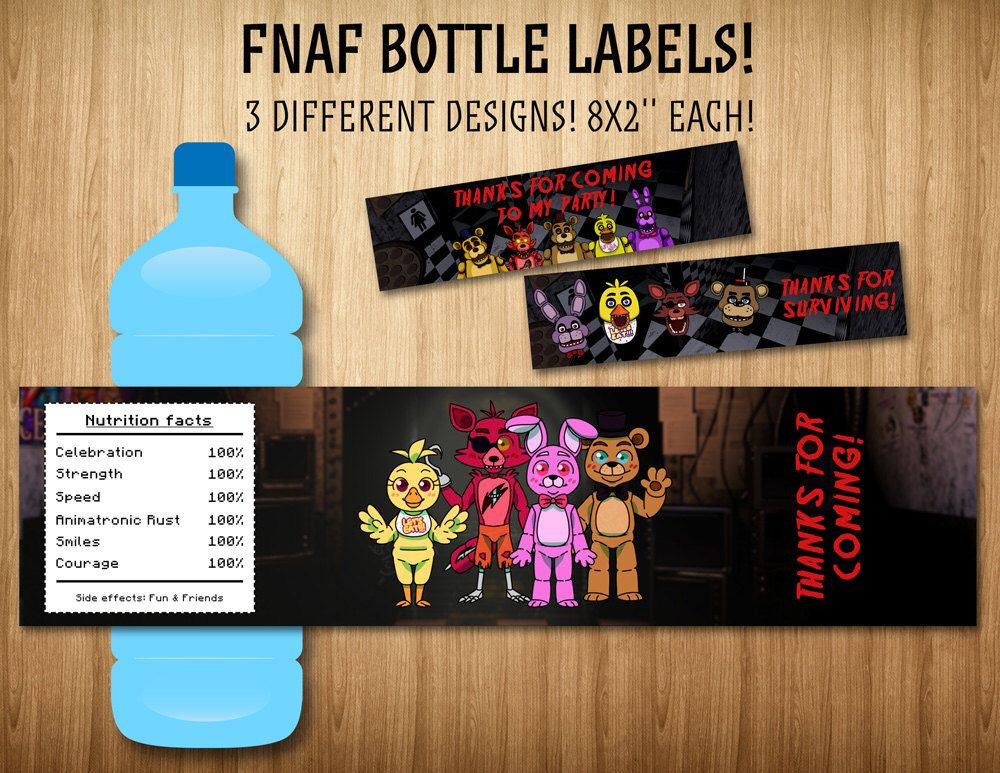 Five Nights At Freddy S Bottle Labels Bottle Wraps 3 Different Designs Bottle Wrapping Bottle Labels Five Nights At Freddy S