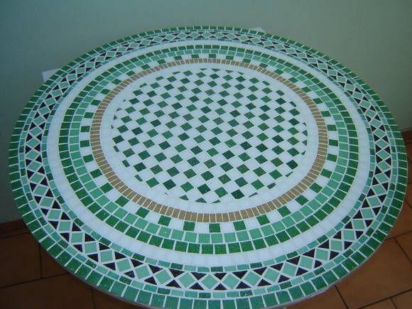 Mosaico Geometrico Prato Giratorio Quadro Tampo De Mesa Com