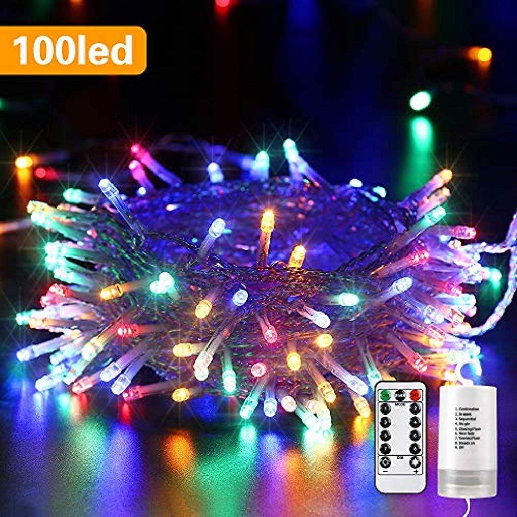 Qedertek Lichterkette Aussen Batterie 100 Led Outdoor Lichterkette Batterienbetrieben Bunt 8 Modi I Lichterkette Lichterkette Batteriebetrieben Aussenbeleuchtung