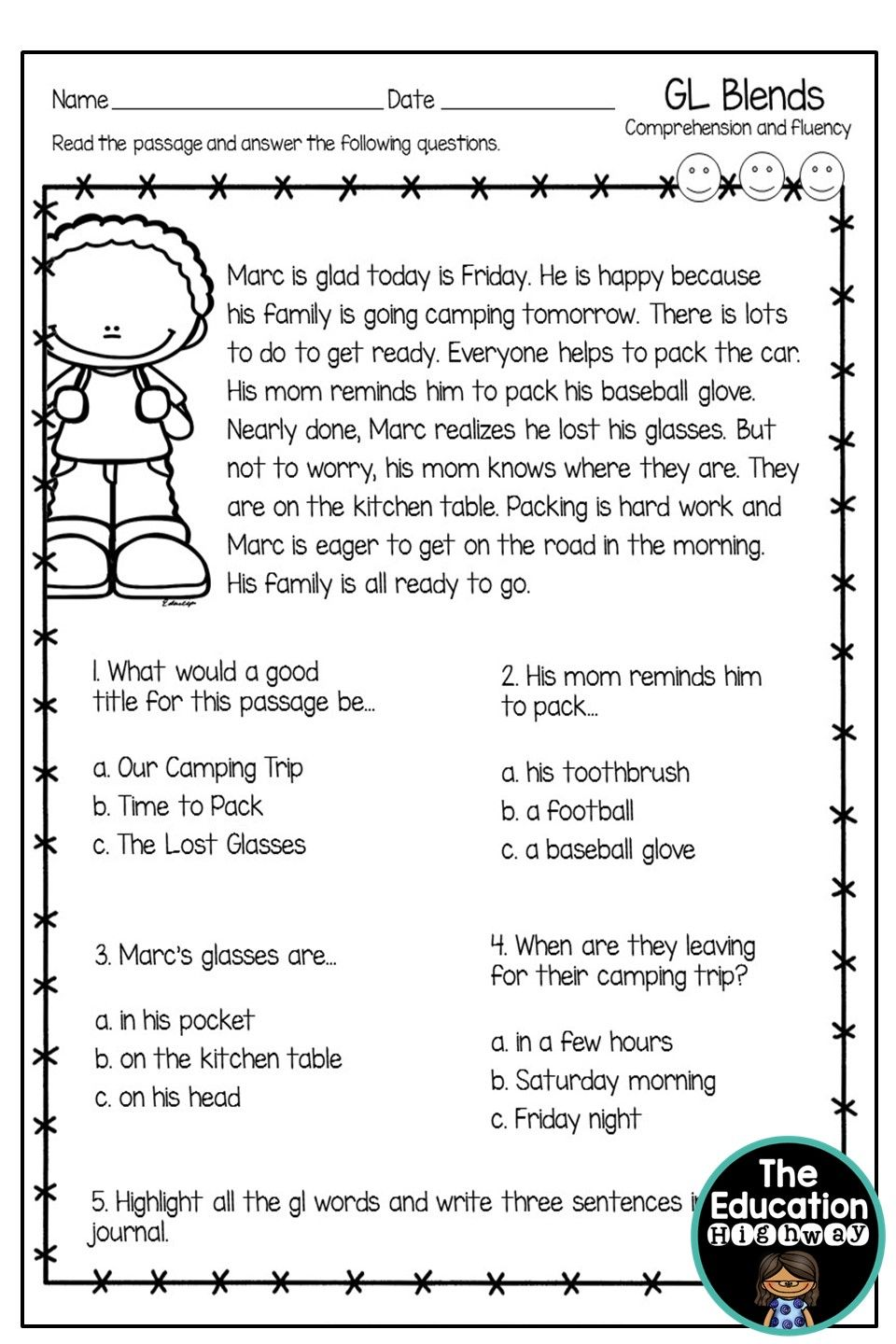 - GL Blends Reading Comprehension Worksheets, Reading