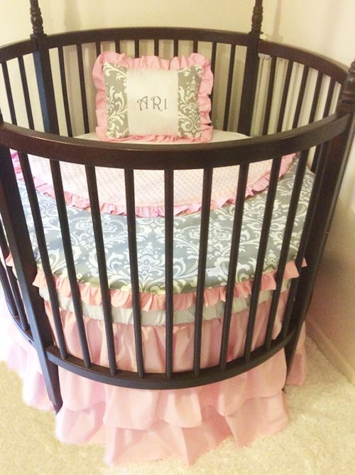 Personalized damask pink grey and white nursery bedding ...