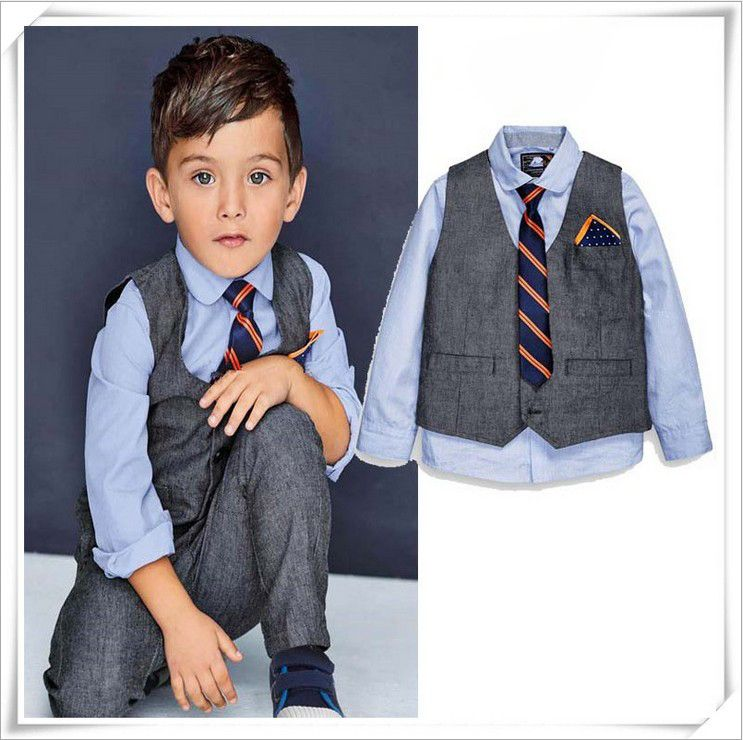 Vest 3Pcs UK Shirt Boys Outfit Sets 2-7 Years Old Handsome Gentleman Jeans