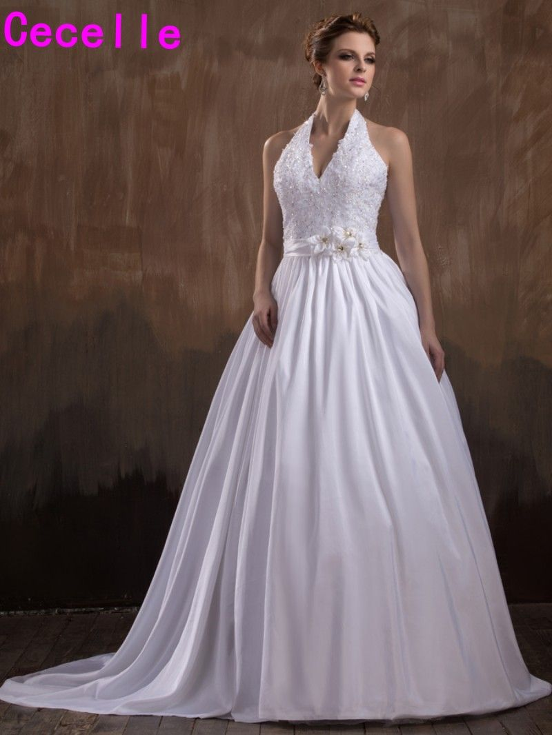 Retro wedding dress   New Ball Gown Vintage Wedding Dresses Sexy Halter V Neck