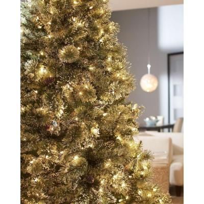 Martha Stewart Living, 7.5 ft. Pre-Lit Sparkling Pine Artificial ...