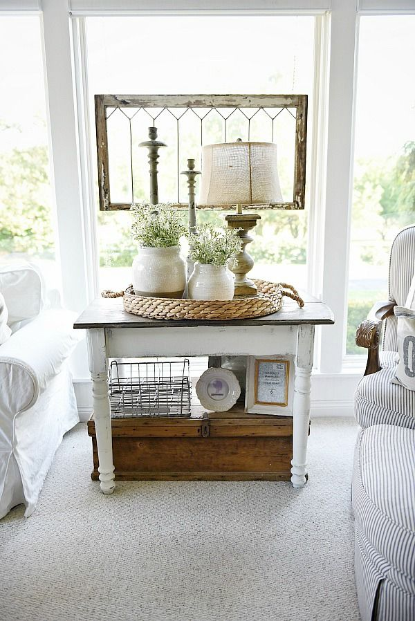 Cozy Cottage Farmhouse Sunroom Maison Blanche Chalkpaint Side Table Makeover Decorating