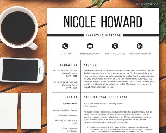 Modern Resume Template \/ Resume Template Instant Download for MS - ms word cover page templates free download