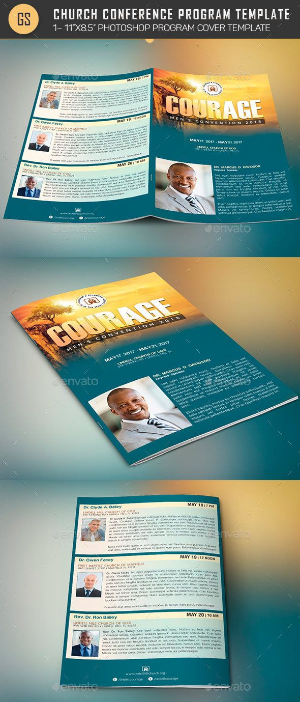 church conference program cover template created with photoshop