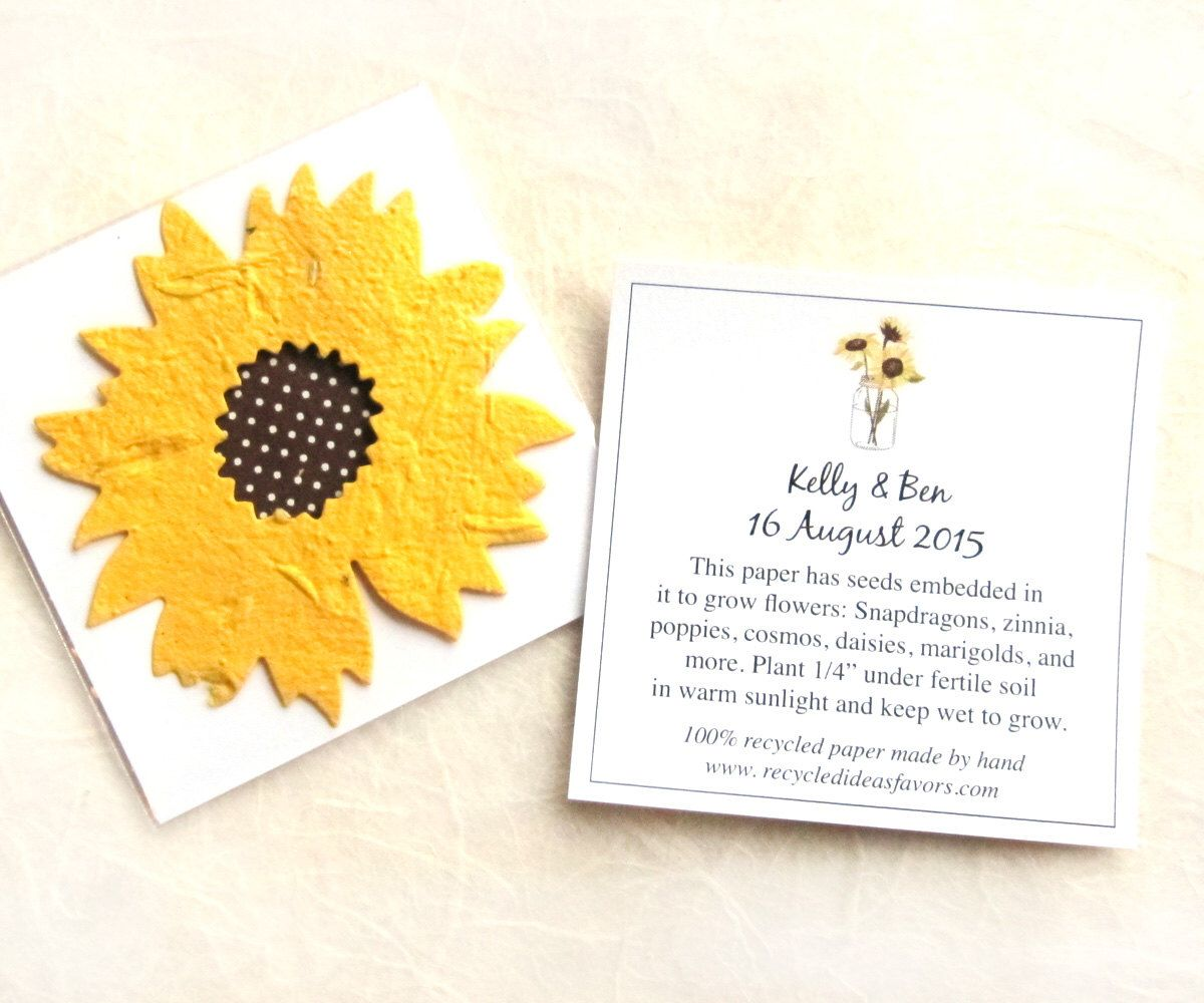 70 Sunflower Seed Wedding Favors   Plantable Paper Flowers   Personalized  Favor Cards By Recycledideas On