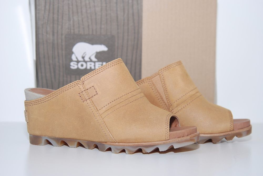 NEW Sorel Joanie Mule Womens Suede/Canvas Elk Tan Wedge Heel Shoes Size 7 #BloomingLotus #SpringShoes #SpringWedges #Sorels #BohoShoes