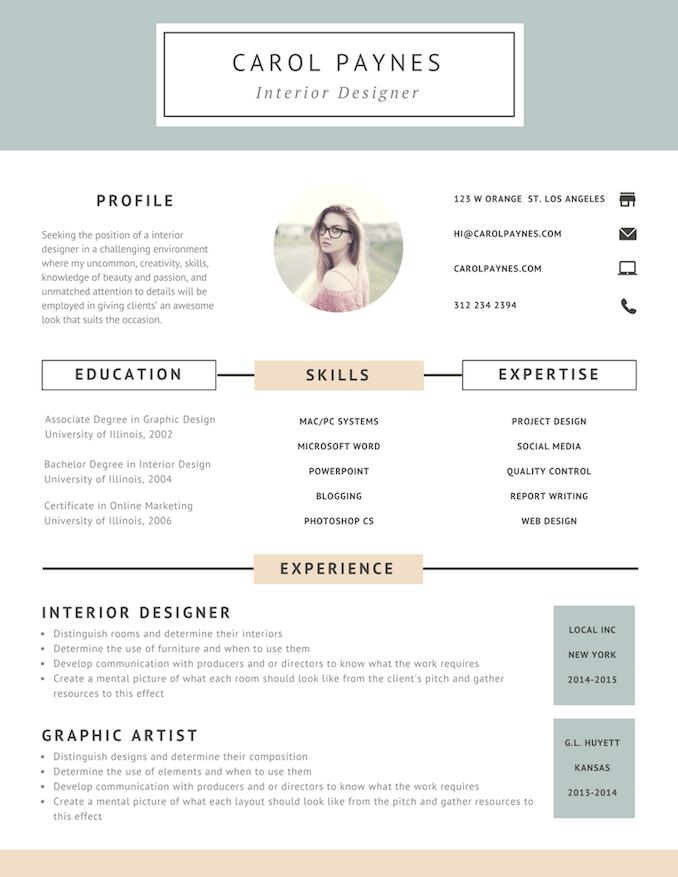 Resumes in 2020 Interior design resume, Resume design